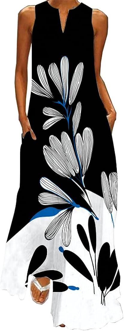 WINKEEY Falda Larga para Mujer Falda Extragrande de Verano con Estampado Bohemio