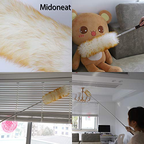 """Midoneat Lambswool Duster with Extra Flexible Microfiber Head,Long Reach/Extendable Duster Up to 86"""" for Cleaning High Ceiling Fan, Interior Roof, Cobweb, Keyboard, Furniture"""