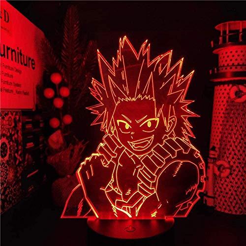 Lâmpada de ilusão 3D para meninos Anime Eijirou Lamp My Hero Academia Luz noturna LED 3D para decoração de quarto infantil, Boku no Hero Academia, presente de aniversário, lâmpada de mesa, 7 cores, toque QLWLKJ HOICHAN