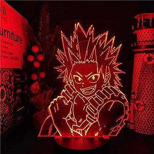 3D Night Light My Hero Academia LED Lamp Kirishima Eijiro Anime Boku No Hero Academia Lampara De Noche Bedroom Christmas Xmas,Holiday Gifts for Boys and Girls HYKK