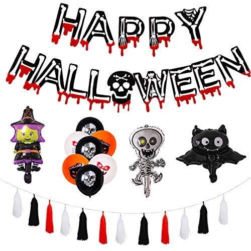 VPBAO - Accesorio para disfraz de Halloween, decoración de globos de látex para fiesta, bar, casa, multicolor, 45 unidades