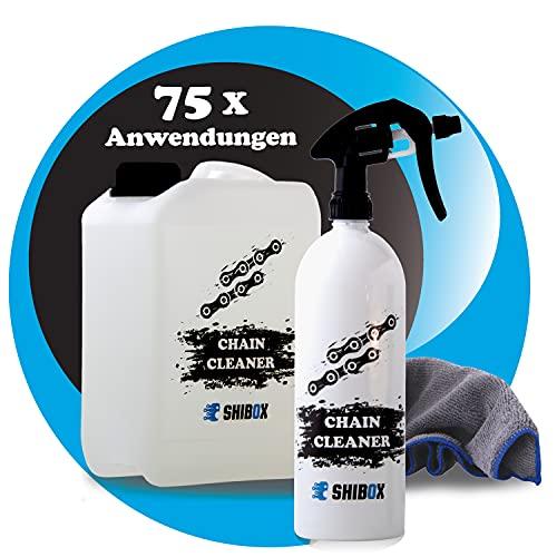 Kettenreiniger Fahrrad - sehr ergiebig für bis zu 75 Anwendungen - Kettenreiniger Motorrad - ideal für Fahrradkettenreinigungsgerät + Mikrofasertuch - Fahrradketten Reiniger - Kettenspray (3 Liter)