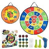 Dartscheibe für Kinder Doppelseitige Dinosaurier Dartscheibe für Indoor Outdoor Partyspiele mit 12 Klebrigen Bällen, Spielzeugpistole und 2 Dartkugeln, Sicheres Spielzeug Geschenk für Jungen Mädchen