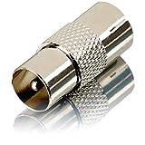 Bild des Produktes 'Movoja TV Verbindungsstück – | Einfacher Anschluss 2er Kabel | KOAX | Metall | Antennen Adapter Koax auf Koax'