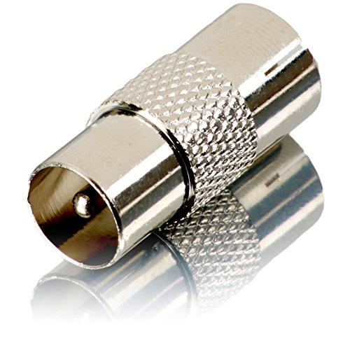 Movoja TV Verbindungsstück – | Einfacher Anschluss 2er Kabel | KOAX | Metall | Antennen Adapter Koax auf Koax Stecker Fernsehkabel Verbinder Kupplung Verlängerung Anschluss Adapter