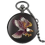 ZHAOXIANGXIANG Reloj De Bolsillo,Creativo 3D Flying Eagle Cuarzo Relojes De Bolsillo Cadena Colgante Hombres Mujeres Collar De Recuerdo Regalos
