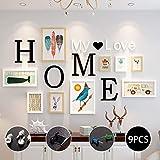 Marco de fotos 9 piezas,con letras 'home''my love',4 tamaños:3pcs-8. 8*12. 8cm,2pcs-12. 8*17. 8cm,2pcs-19. 8*24. 8cm,2pcs-31. 8*14. 7cm, sala de estar, decoración del hogar del dormitorio,regalos de boda