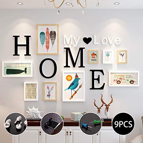 """Marco de Fotos 9 Piezas,con letras """"HOME""""""""MY LOVE"""",4 tamaños:3pcs-8.8*12.8cm,2pcs-12.8*17.8cm,2pcs-19.8*24.8cm,2pcs-31.8*14.7cm, Sala de estar, decoración del hogar del dormitorio,regalos de boda"""