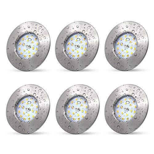 6x LED Badeinbaustrahler Ultra Flach 5W LED Modul IP44 LED Einbauleuchte Bad Deckenspot Bad Einbaustrahler Einbauspot neutralweiss 500lm 30mm Rund Matt Nickel Deckenstrahler