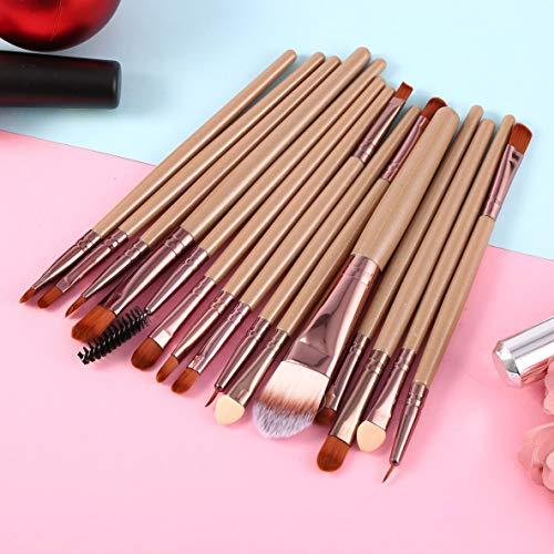 15 Pcs/Kit Pinceaux de Maquillage Set Cils Lèvres Fondation Poudre Ombre À Paupières Sourcils Eyeliner Cosmétique Maquillage Brosse Outil de Beauté - Café