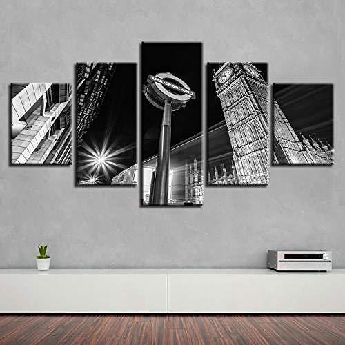 TOPRUN 5 Piezas Cuadro sobre Lienzo De Fotos Edificio, Reloj Lienzo Impresión Cuadros Decoracion Salon Grandes Cuadros para Dormitorios Modernos Mural Pared Listo para Colgar
