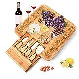 Tebery Käsebrett mit Käsemessern - Runde Käseplatte aus Holz mit 4 Messern
