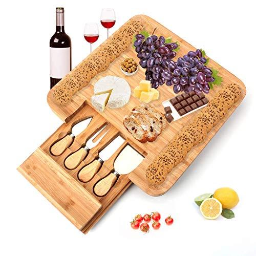 Tebery kaasplank met kaasmessen - ronde kaasplaat van hout met 4 messen