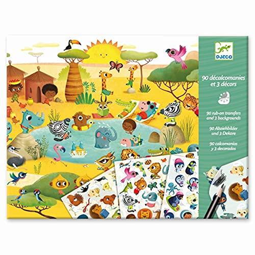 Djeco Autocollants : savane, désert, pôle nordique, multicolore.