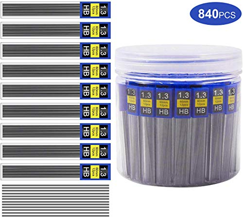 Lead Refills 1.3 mm HB Morepack 840 Pieces Break Resistant Mechanical Pencil Refills,70 Tubes