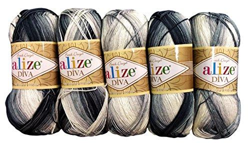 Alize 5 x 100 Gramm Batik Wolle Mehrfarbig mit Farbverlauf, 500 Gramm merzerisierte Strickwolle Microfiber-Acryl (schwarz grau weiß 1900)