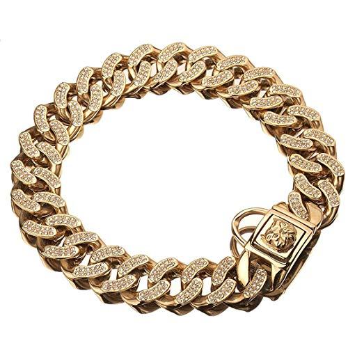 DUPFY 32 MM Domineering American Bully Dog Cadena De Acero Inoxidable Gold Dog Chain Pet Supplies Collar para Mascotas 22inch/56cm