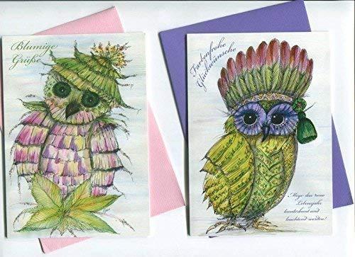 Eulen 6 verschiedene im Set Grußkarten als Print Klappkarten Eulenkarten aus der kunstpause