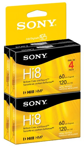 Sony Hi8 Camcorder 8mm Cassettes 120 Minute (4-Pack) (Discontinued by Manufacturer)