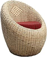 All INDIA HANDICRAFTS Cane Apple Chair with Cushion