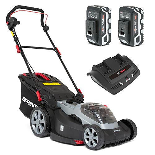 Sprint 2x18V (36V) Tondeuse à gazon Lithium-Ion 44 cm de largeur de coupe 440P18V, comprenant 2 batteries 5 Ah et un double...