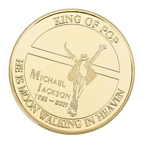 Zhongyanxin Medaillon Michael Jackson Andenken Münze Münze die Pop of The König 1958-2009 Sammlung Vintage Musik Legende Vintage Münze Display Geschenk