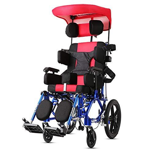 GW Aleación de Aluminio portátil Plegable Los niños Mayores Pueden acostarse por la Mitad de la Silla de Ruedas hemipléjica con parálisis Cerebral