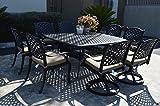 PatioLand Nassau Outdoor Patio 9-pc Dining Set 64 X 64 Cast Aluminum (9-pc Set (with 4 Swivel Rocker + 4 Regular Chairs), Sunbrella Sesame)