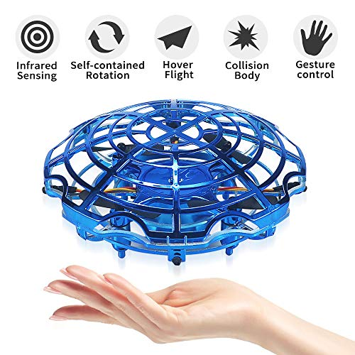 HUSAN Fliegende Spielzeug, Mini Drohne Handsteuerung Infrarotinduktion Fliegende Kugel Fliegendes Spielzeug mit Fernbedienung LED-Leuchten USB-Aufladung, Geschenk für Kinder (Dunkelblau)