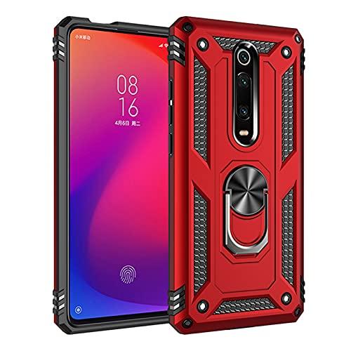 HJKKLL Fit For Xiaomi Mi 9T Pro Estuche a Prueba de Golpes Fit For Xiaomi Mi 9T 9T Pro Mi9t Cubierta de retención de Anillo de protección contra caídas para vehículos Militares(Color:Red,Size:9T Pro)