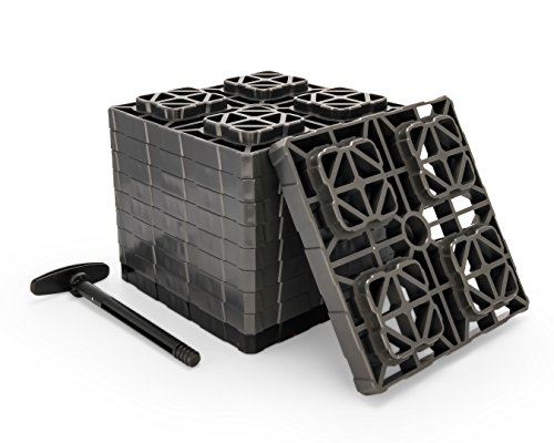 Camco Fasten XL 2x2 Leveling Block - Interlocking Design Allows Stacking to Desired Height - Includes Secure T-Handle Carrying System - Gray - 10 Pack (21026)