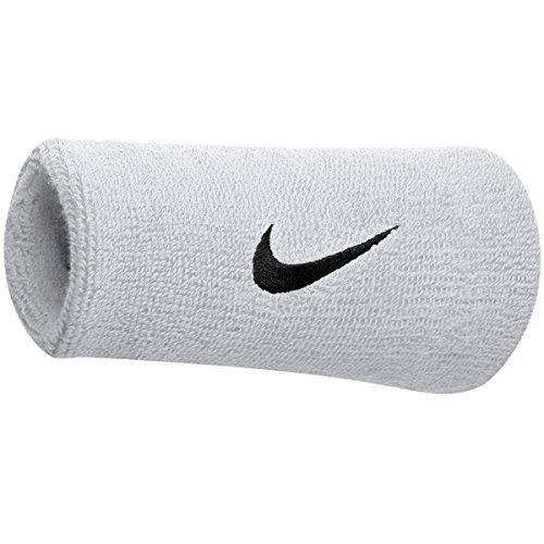 Nike Polsini Unisex a Doppia Larghezza con Logo (Un Paio), Bianco/Nero