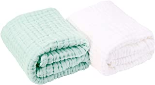 AIMIUKIDS Newborn Muslin Baby Towel Cotton Gauze Super Soft Baby Bath Towels 6 Layers Infant Towels 2 Pack 43.3''x43.3''(White,Green)