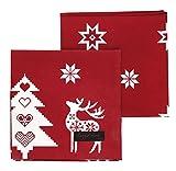 Ragged Rose Natalie Natale Tovaglioli, Colore: Rosso, Confezione da 4