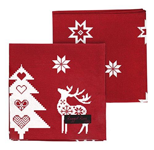Ragged Rose – Natalie – Servilletas de Algodón Navidad (4 Unidades), Color Rojo y Blanco - 40 x 40 cm