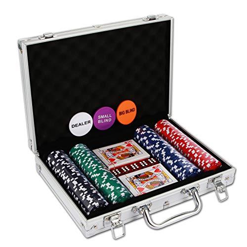 Nolie casino poker chip set 200 pcs with reinforced aluminum case for gambling(11. 5 gram)