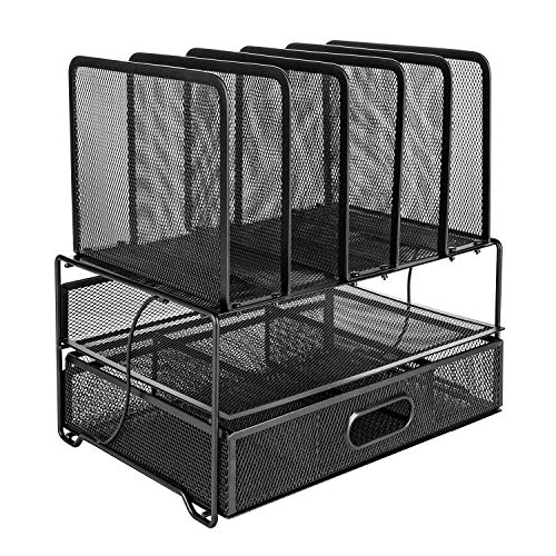 Amazon Basics Mesh Desk Organizer with Sliding Drawer, Double Tray and 5 Upright Sections, Black