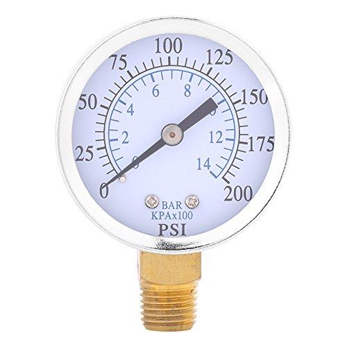 Manometro pressione pneumatica / Manometro idraulico 1/4 \'NPT 0-200PSI Manometro inferiore da 0-14bar con custodia in metallo