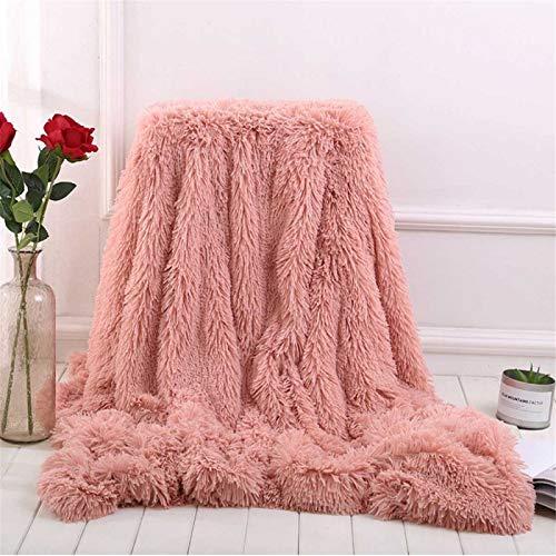 Aujelly Flauschige Kuscheldecke Shaggy Langhaar Decke Microfaser Kunstfell TV Decke Flauschig Klimaanlage Decke für Couch Bett Rosa 80 x 120 cm