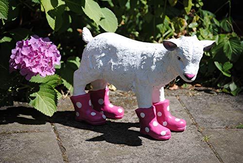 Deko Shop Cologne Figur Ziege mit Stiefel pink Ziegenbaby Schaf Garten Bauernhof Hofladen Zicklein Lamm Natur