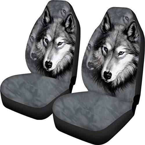chaqlin Grey Wolf Autositzbezug Männer Frauen Vordersitzbezug Geschenke Tier Design Universal Fit für die meisten Autos Set von 2 Front Full Auto Zubehör Schutzhülle…