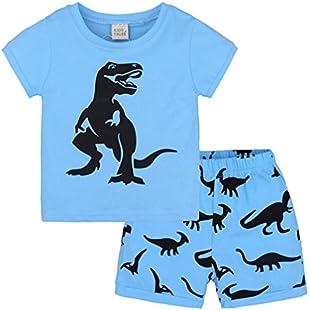 wuayi Toddler Kids Baby Boys Girls Pajamas Cartoon Print Tops Shorts Outfits Set (3-4 Years, Blue)