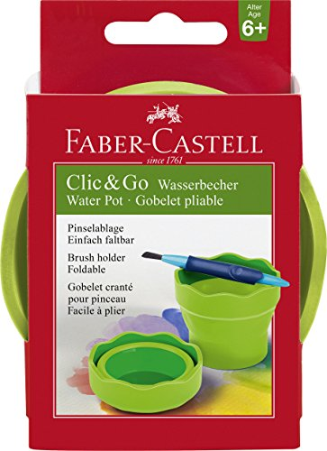 Faber-Castell Clic & Go Portable Water Cup with Brush Holder, Green, 7