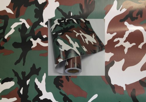 Könighaus (8,29€/m2) Woodland 500 x 152 cm blasenfrei mit Anleitung (Camouflage Autofolie)