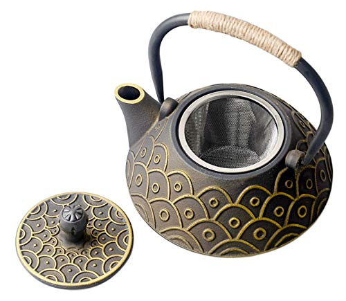 HwaGui Japanische Teekanne Gusseisen mit Edelstahl Siebeinsatz für Loser Blätter Tee 0.8 L (4 tassen), Gold Drachenschuppen Tee Kanne [MEHRWEG]