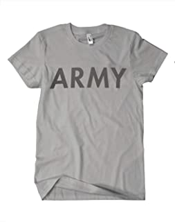 AMS Mens U.S. Army P/T Physical Training T-Shirt, Heather Gray with Reflective Lettering