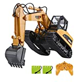 TEMA1985 Remote Control Excavator Toys with Metal Shovel 15 Channel Full Functional RC Construction Vehicles with Lights & Sound 2.4Ghz RC Excavator Toys for Boys