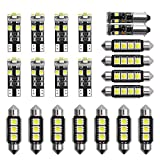 Juanya Ampoules LED 6000-8000k Ampoules Feux au Xénon Blanc Mini Ampoules Intérieures Éclairage pour Voitures Plaque d'Immatriculation Kit de 21 Pièces