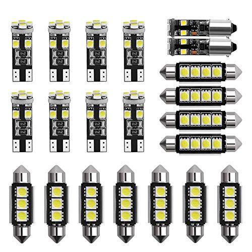 Teabelle 21 Piezas de Luz Interior LED para Coche Kit de Lámpara de Cúpula Placa de Matrícula Bombillas
