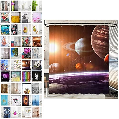 Sanilo® Duschvorhang, viele schöne Duschvorhänge zur Auswahl, hochwertige Qualität, inkl. 12 Ringe, wasserdicht, Anti-Schimmel-Effekt (180 x 200 cm, Planeten)